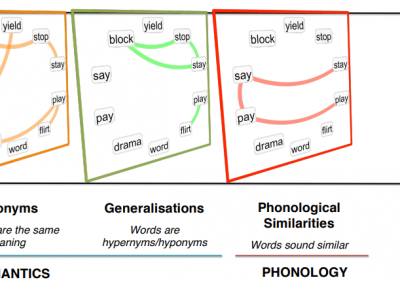 Multiplex lexical networks combine the semantic and phonological structure of word-similarities, which in turn influence the cognitive processes behind language acquisition, use and impairment. See for reference Stella et al., Scientific Reports, 2018.